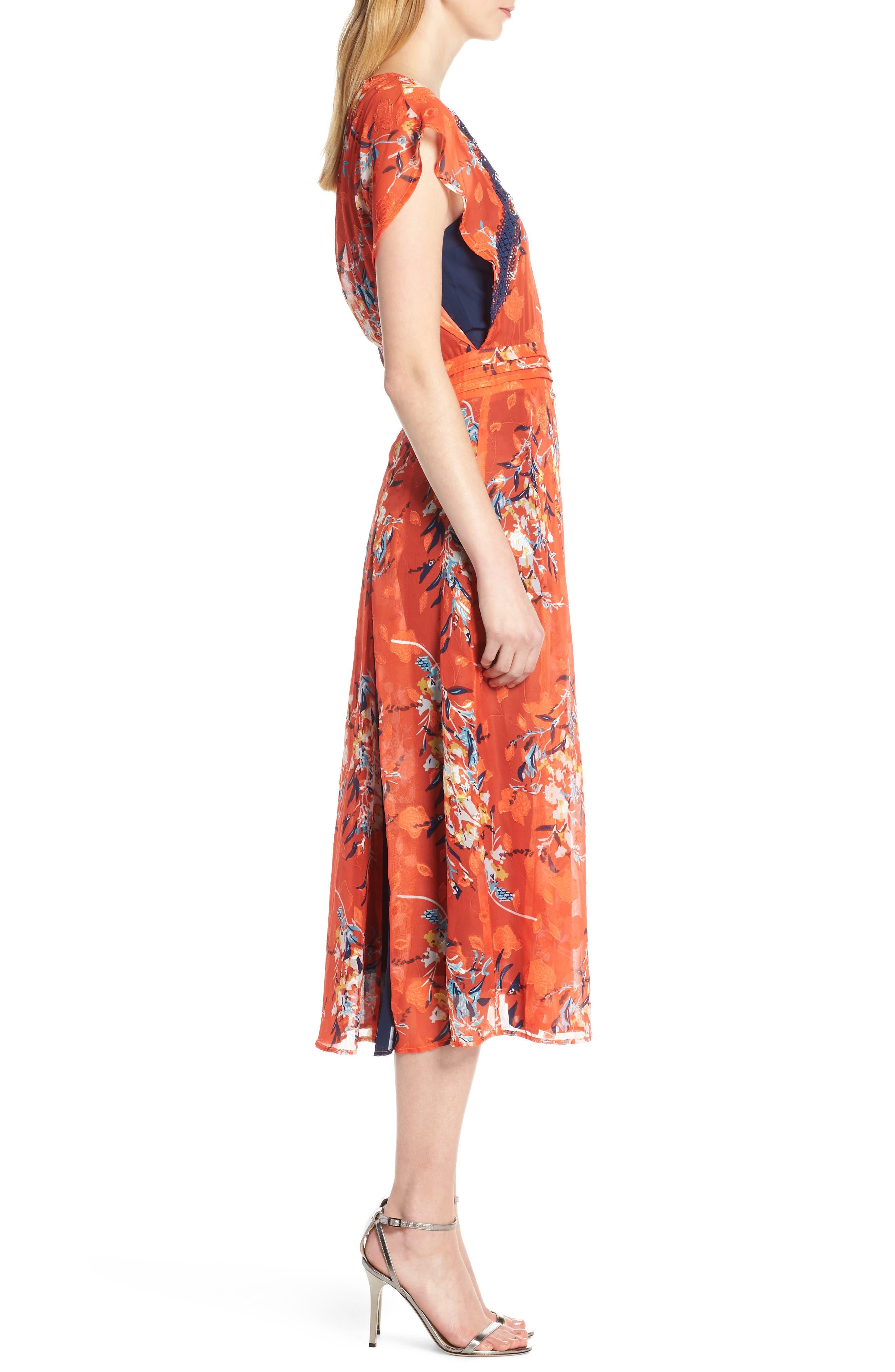 ,                             Olena Godet Flared Dress,                             Alternate thumbnail 4, color,                             ORANGE MULTI
