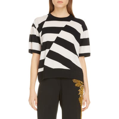 Dries Van Noten Jaslynn Asymmetrical Stripe Merino Wool Sweater, Black