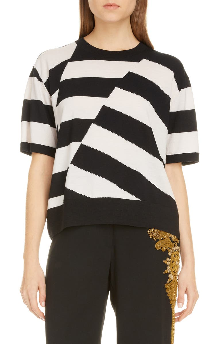 DRIES VAN NOTEN Jaslynn Asymmetrical Stripe Merino Wool Sweater, Main, color, 001