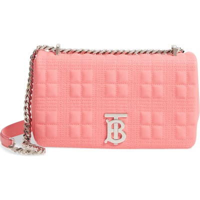 Burberry Small Lola Quilted Check Leather Bag - Pink