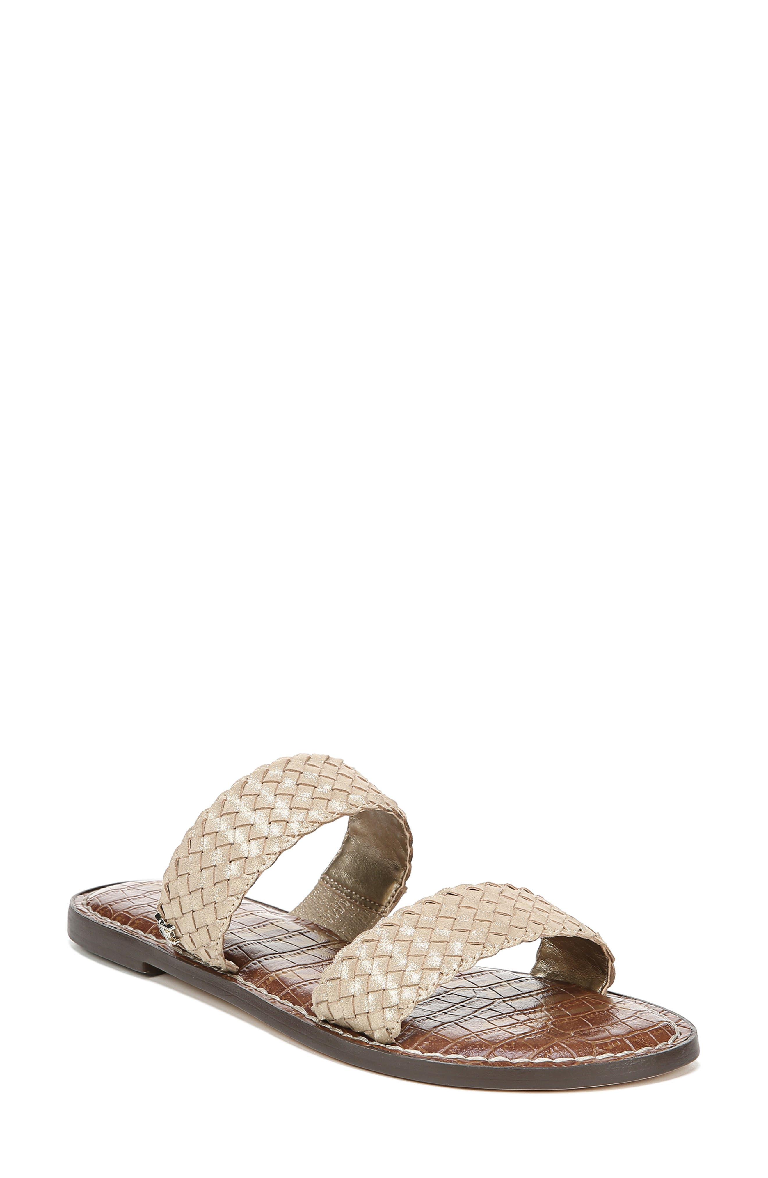 Sam Edelman Gala Two Strap Slide Sandal, Metallic