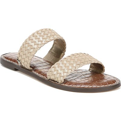 Sam Edelman Gala Two Strap Slide Sandal, Metallic