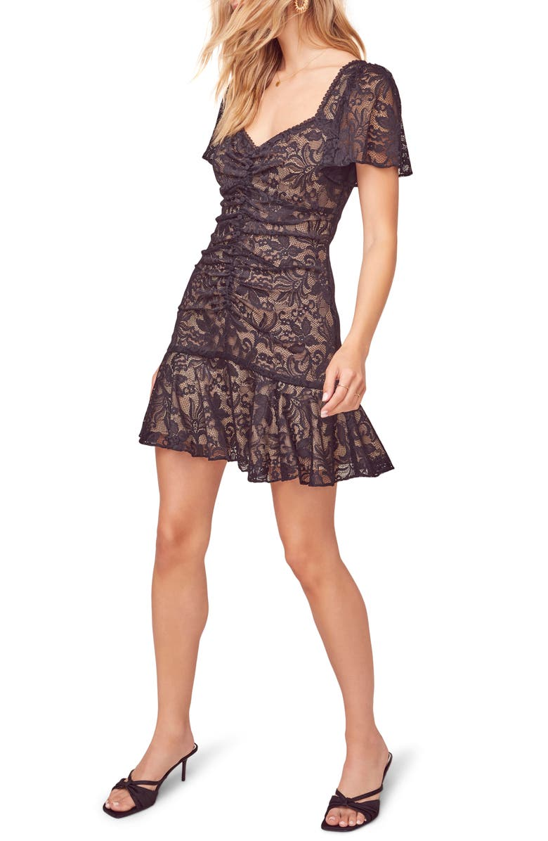 ASTR THE LABEL Smitten Lace Minidress, Main, color, BLACK/ NUDE
