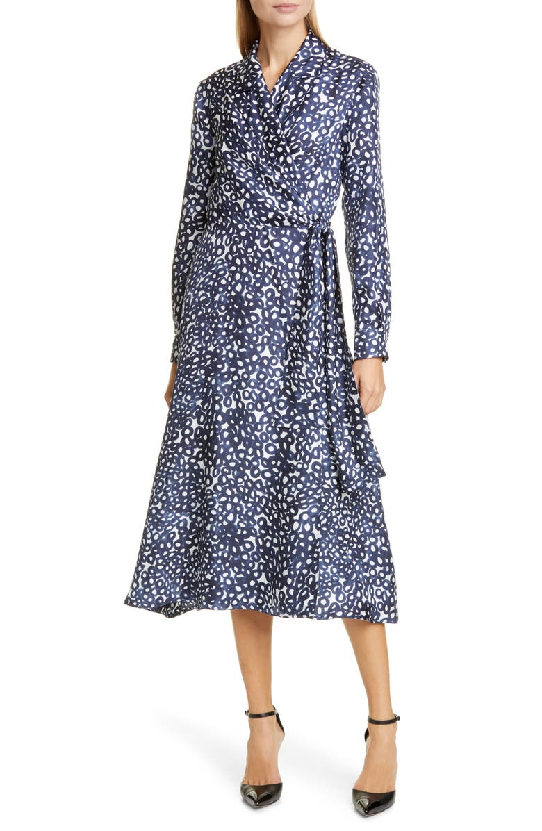 MAX MARA Ravel Silk Crêpe de Chine Long Sleeve Wrap Dress, Main, color, ULTRAMARINE