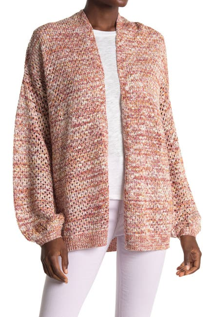 Image of ALL IN FAVOR Open Knit Balloon Sleeve Cardigan