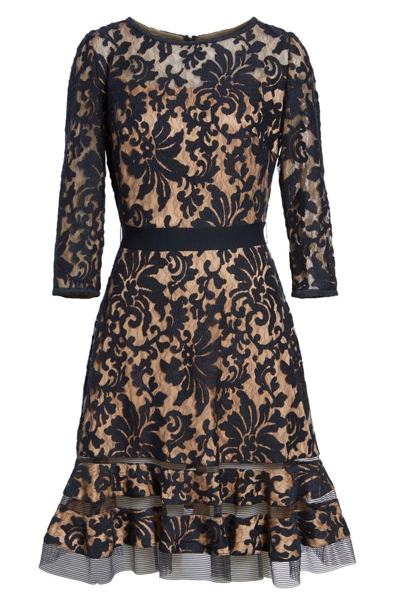 TADASHI SHOJI Lace Overlay Dress, Main, color, 408