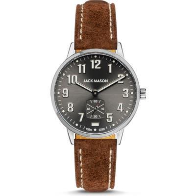 Jack Mason Field Sub Second Leather Strap Watch,