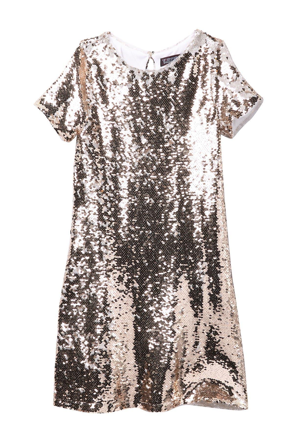 Image of Trixxi Reversible Sequin Tee Dress