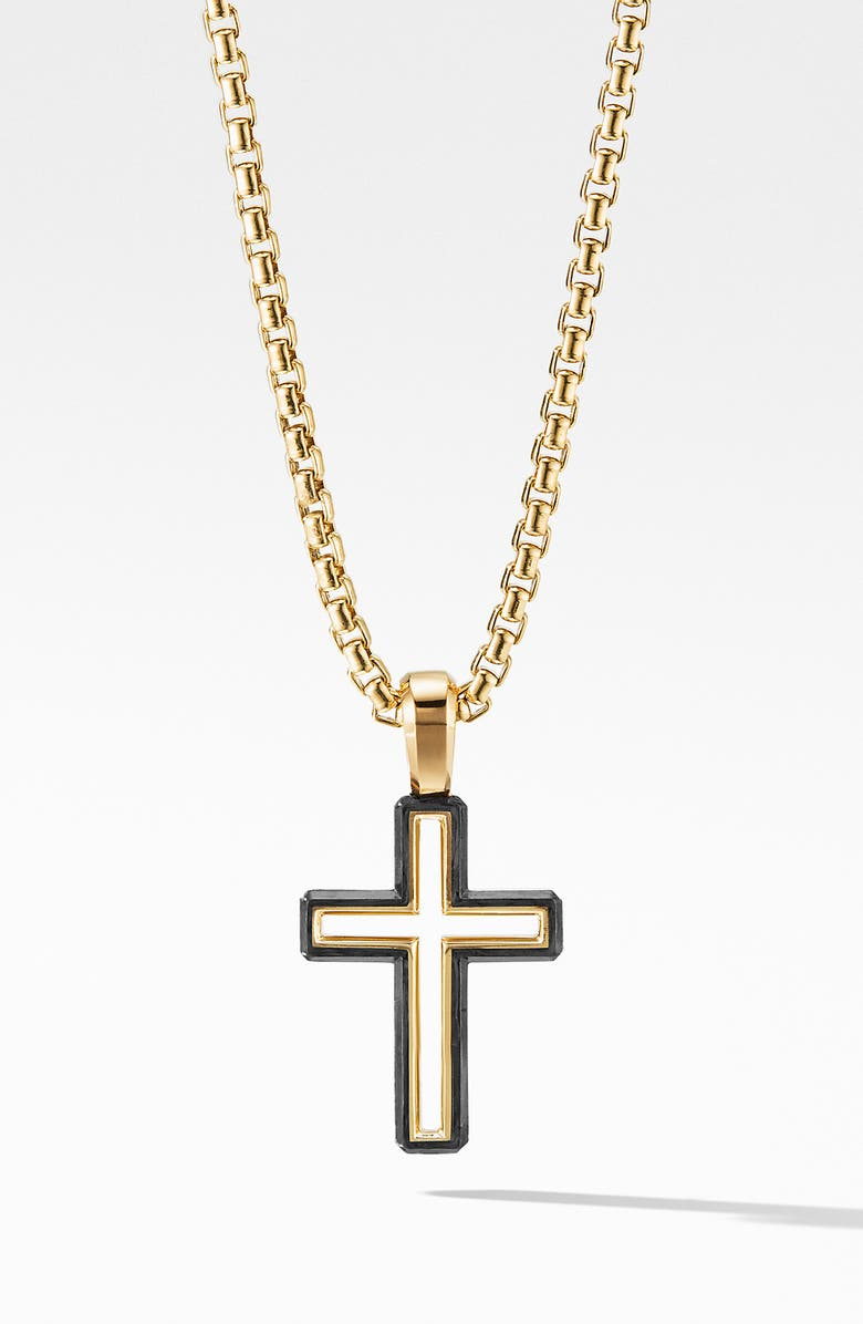 DAVID YURMAN Forged Carbon Cross Pendant with 18K Gold, Main, color, FORGED CARBON