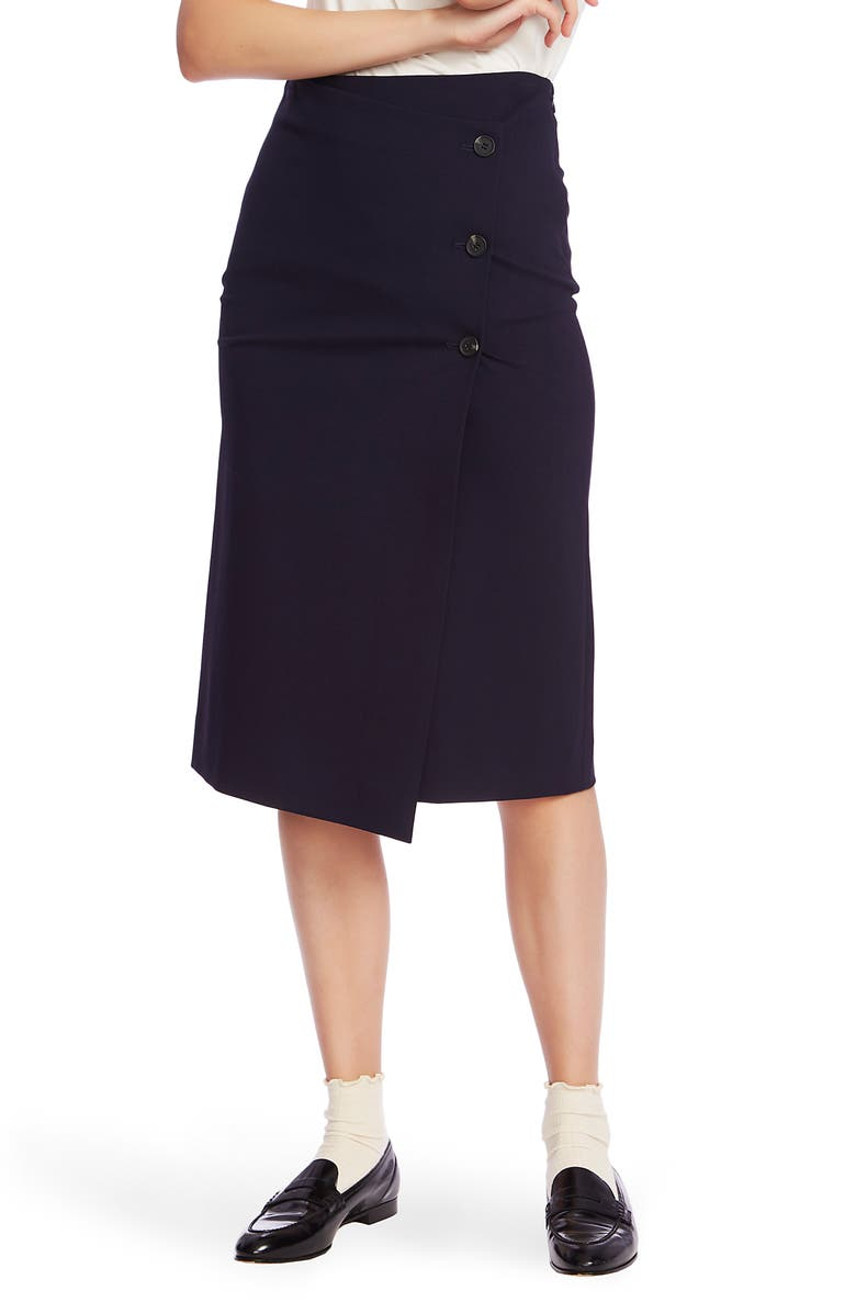 COURT & ROWE Ponte Knit Pencil Skirt, Main, color, BLUE CAVIAR