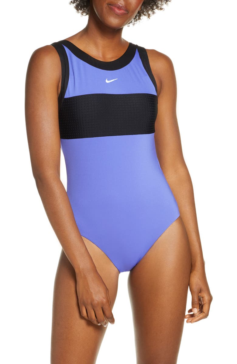 NIKE High Neck One-Piece Swimsuit, Main, color, SAPPHIRE