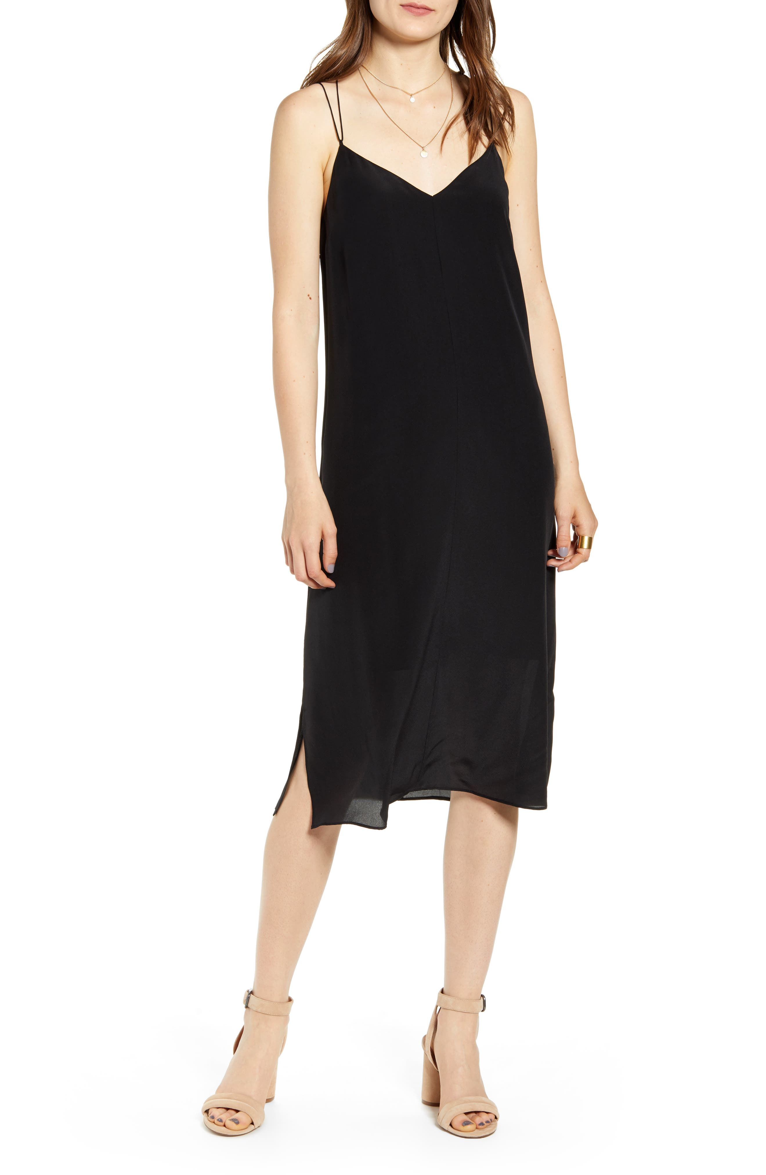 Madewell Silk Cami Slipdress, Black