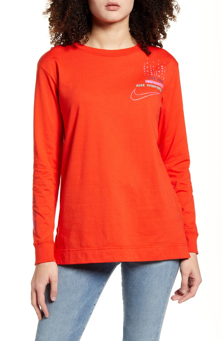 NIKE Live Free Logo Graphic Long Sleeve Cotton Tee, Main, color, HABANERO RED