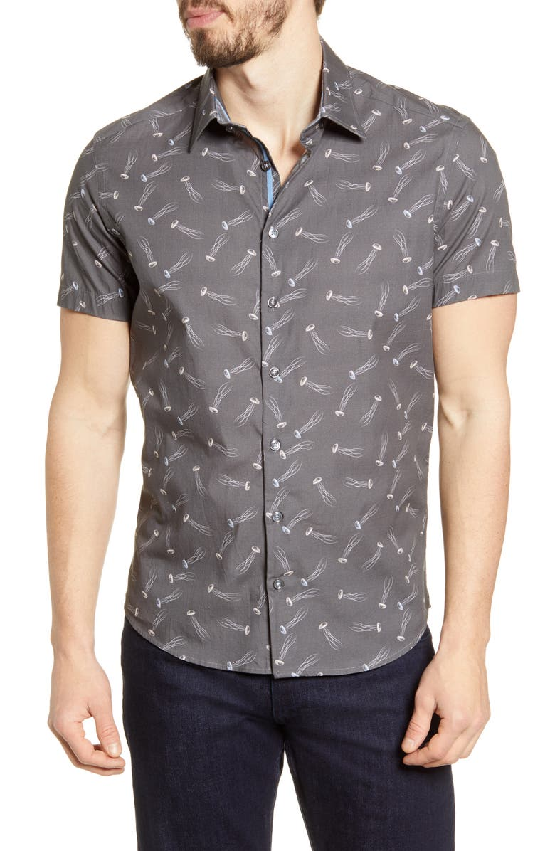 STONE ROSE Short Sleeve Stretch Cotton Button-Up Shirt, Main, color, GREY