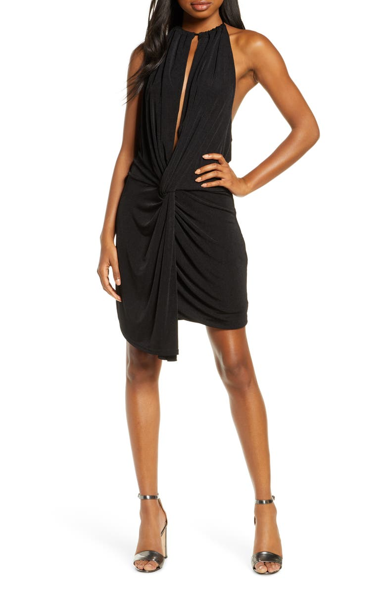 SIGNIFICANT OTHER Loco Halter Cocktail Minidress, Main, color, BLACK