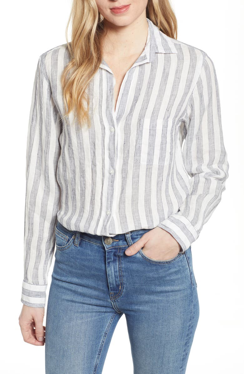 GRAYSON The Hero Stripe Tumbled Linen Shirt, Main, color, SORAYA NAVY STRIPE