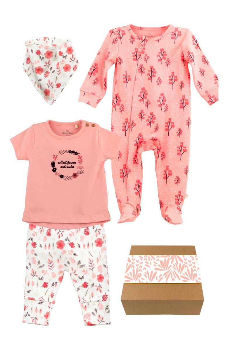 OLIVER & RAIN Organic Cotton Bandana Bib, T-Shirt, Leggings & Footie Gift Set, Main, color, PINK