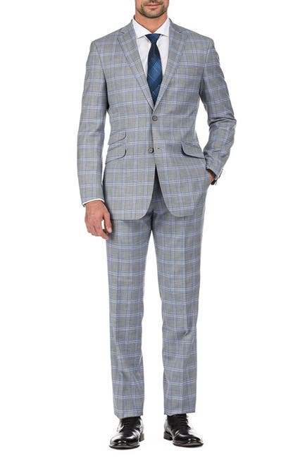 Image of English Laundry Light Grey Windowpane Check Two Button Notch Lapel Slim Fit Suit