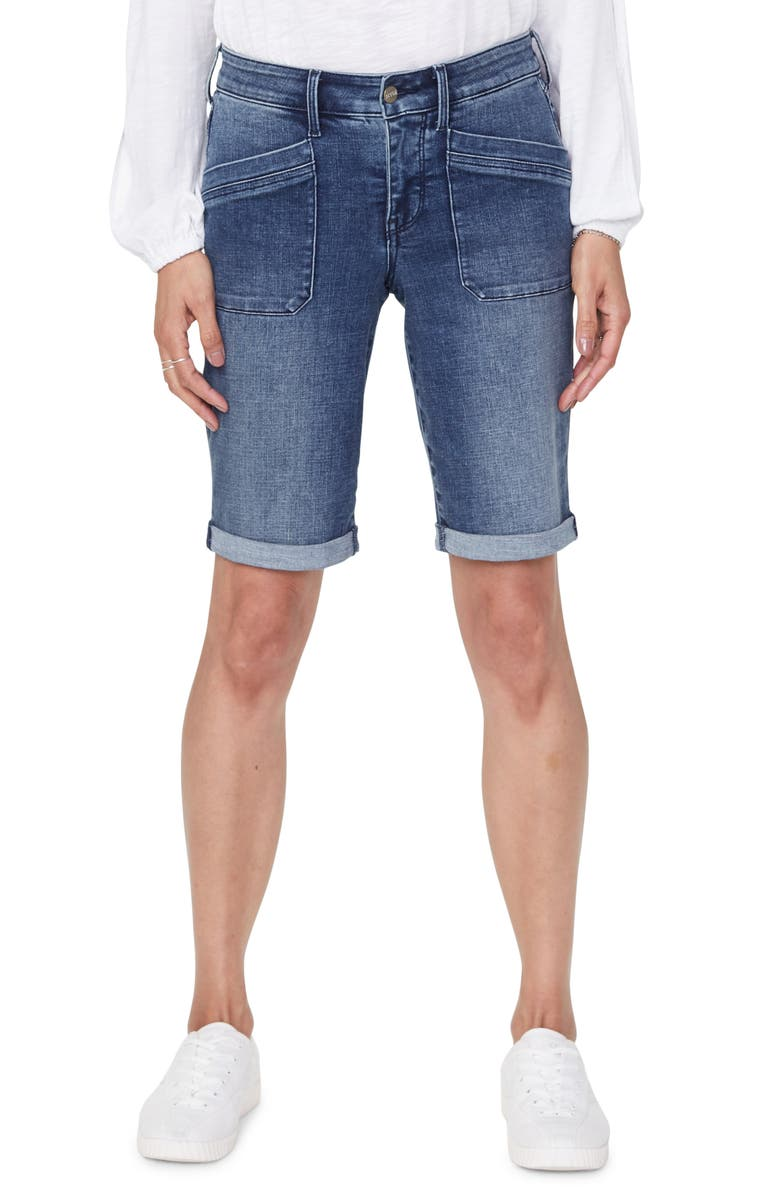 NYDJ Utility Pocket Rolled Cuff Denim Shorts, Main, color, CLEAN LAZARO