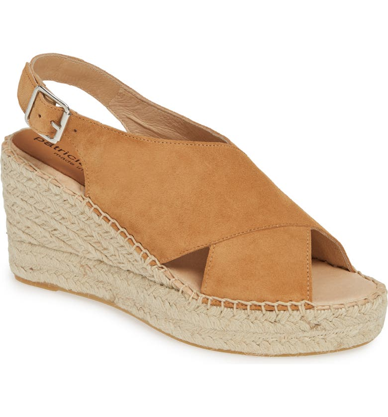 PATRICIA GREEN Madeline Espadrille Wedge Sandal, Main, color, CAMEL SUEDE