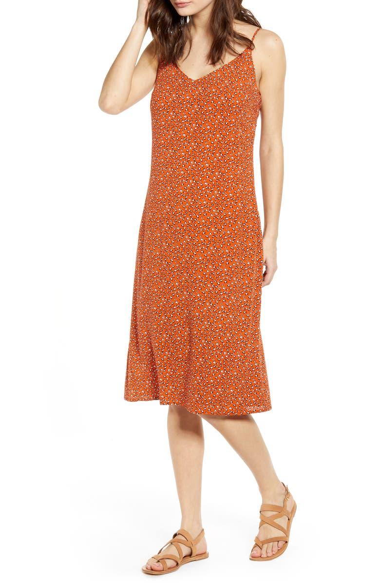 ONE CLOTHING Leopard Print Knee Length Slipdress, Main, color, CARAMEL