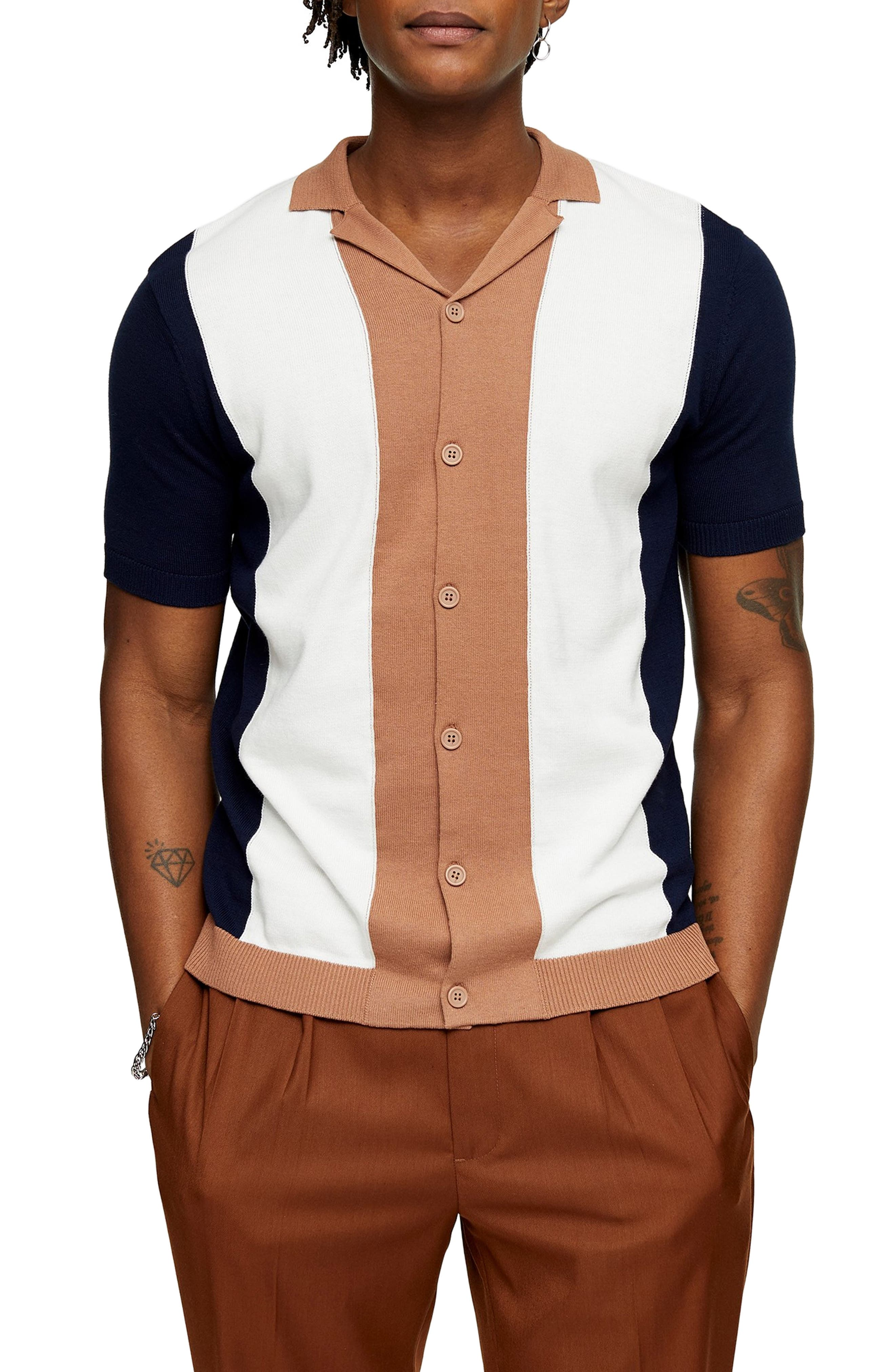 Vintage Mens Clothing | Retro Clothing for Men Mens Topman Classic Fit Colorblock Short Sleeve Cardigan $33.49 AT vintagedancer.com