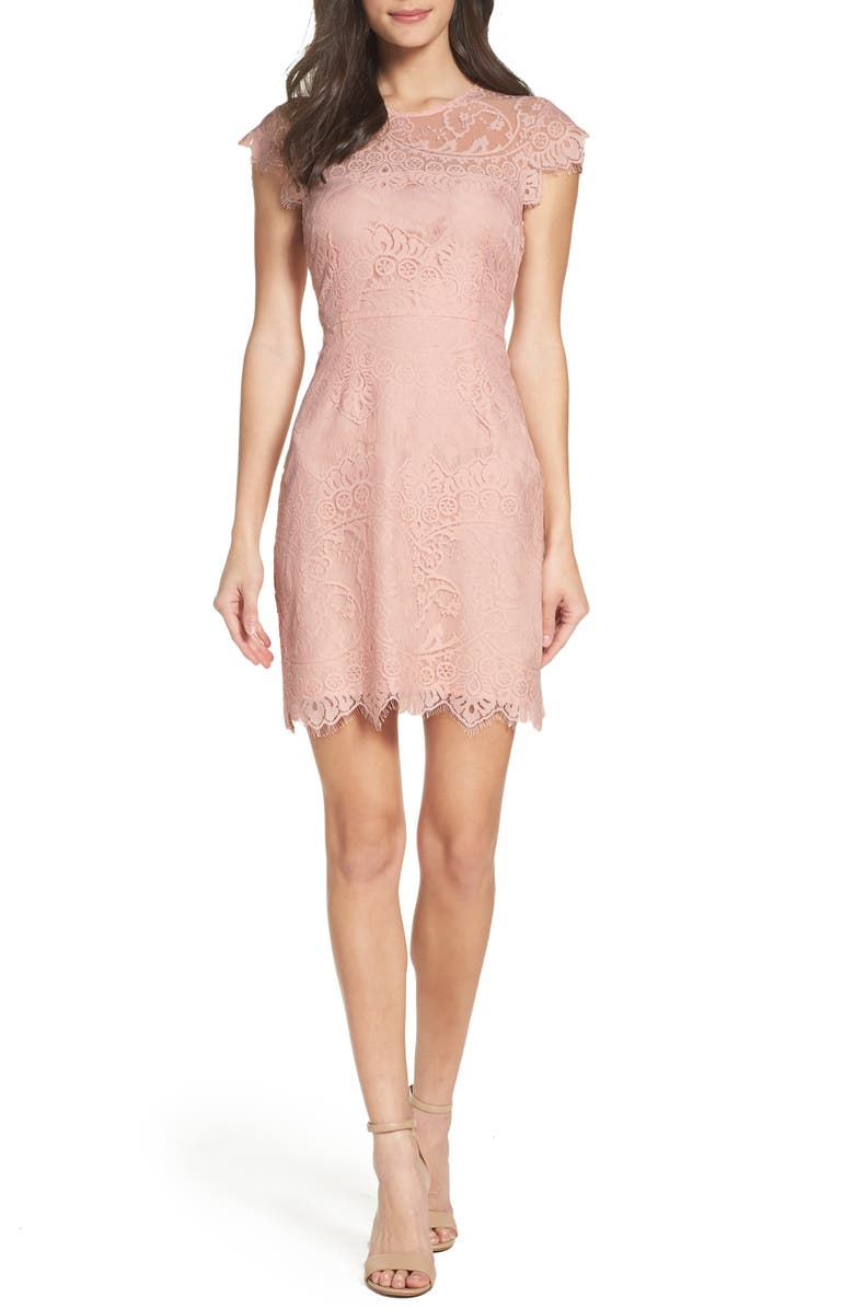 BB DAKOTA Jayce Lace Sheath Cocktail Dress, Main, color, ROSE SMOKE