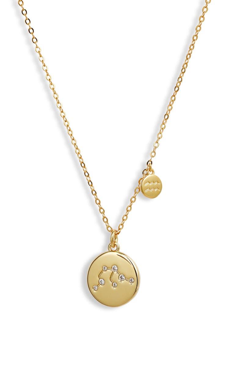 NORDSTROM Zodiac Disc Pendant Necklace, Main, color, AQUARIUS- GOLD