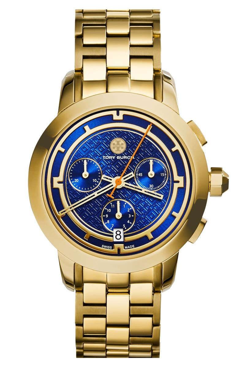 TORY BURCH 'Tory' Chronograph Bracelet Watch, 37mm, Main, color, GOLD/ NAVY