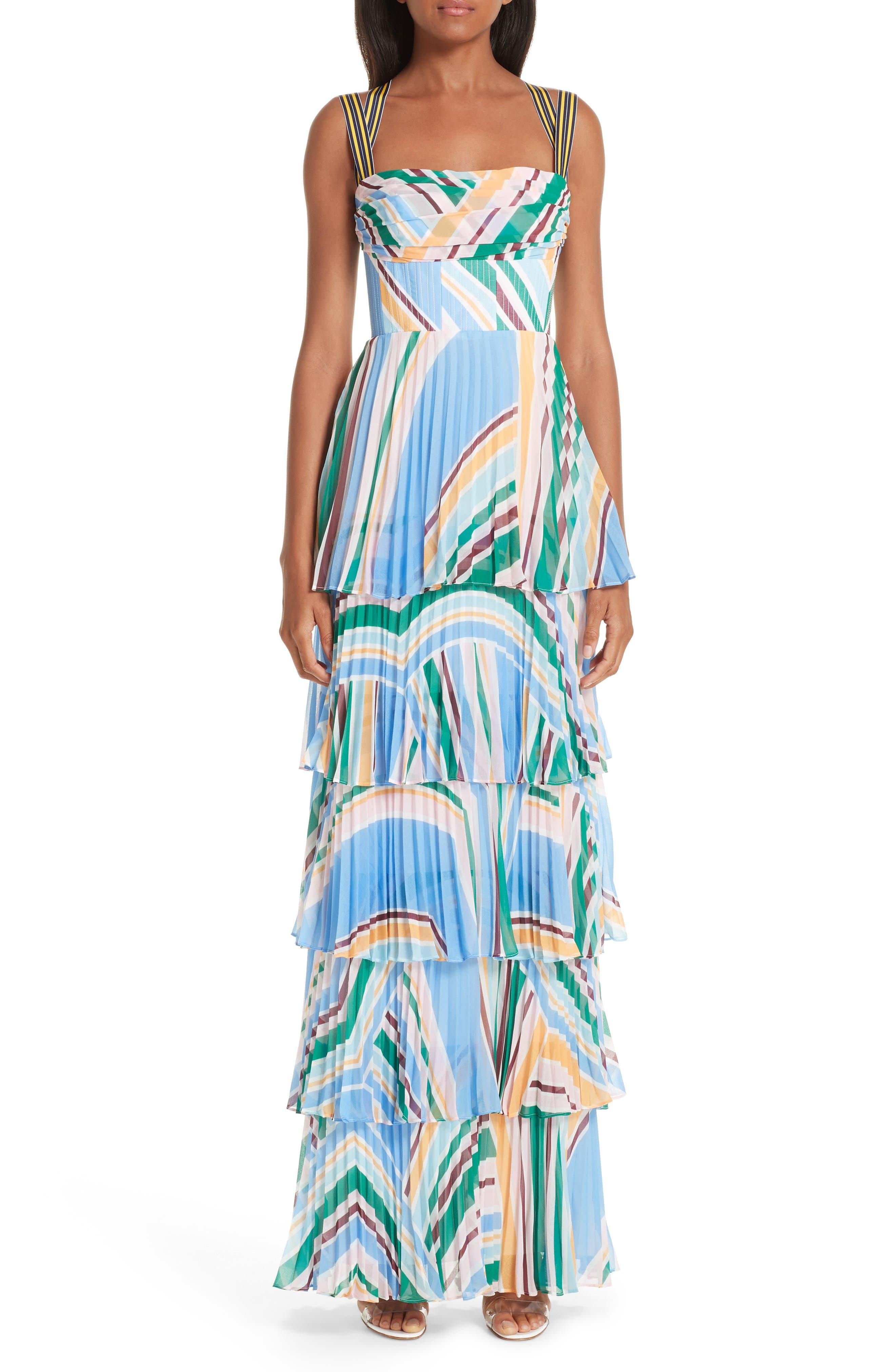 Rachel Gilbert Soekie Tiered Stripe Gown
