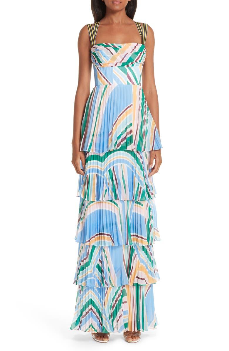 RACHEL GILBERT Soekie Tiered Stripe Gown, Main, color, 400