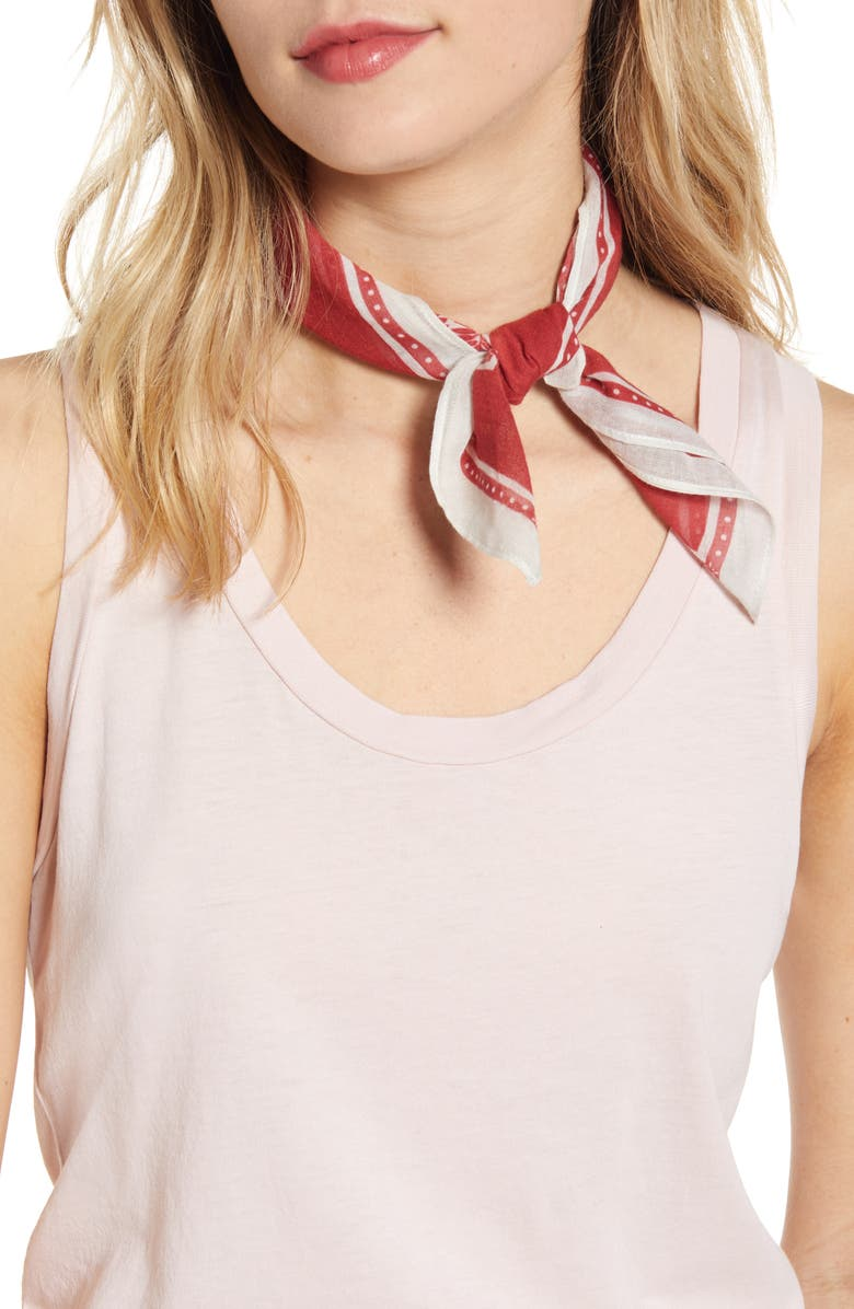 REBECCA MINKOFF Shadow Leaf Cotton Bandana, Main, color, GARNET