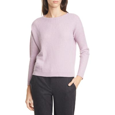 Eileen Fisher Bateau Neck Ribbed Cashmere Sweater, Pink