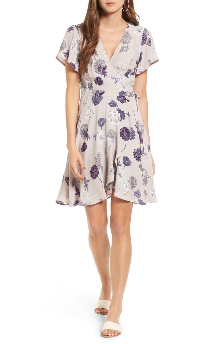 ASTR THE LABEL ASTR Floral Print Wrap Dress, Main, color, 060