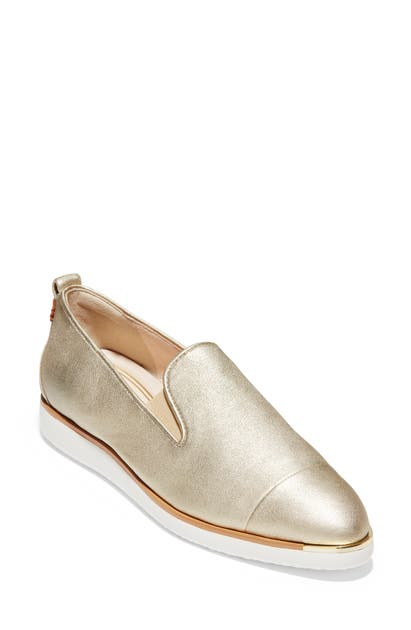 Cole Haan Women's Grand Ambition Slip-on Sneakers In Soft Gold Leather