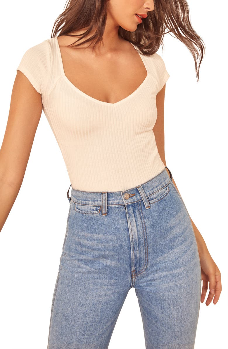 REFORMATION Betsie Top, Main, color, IVORY