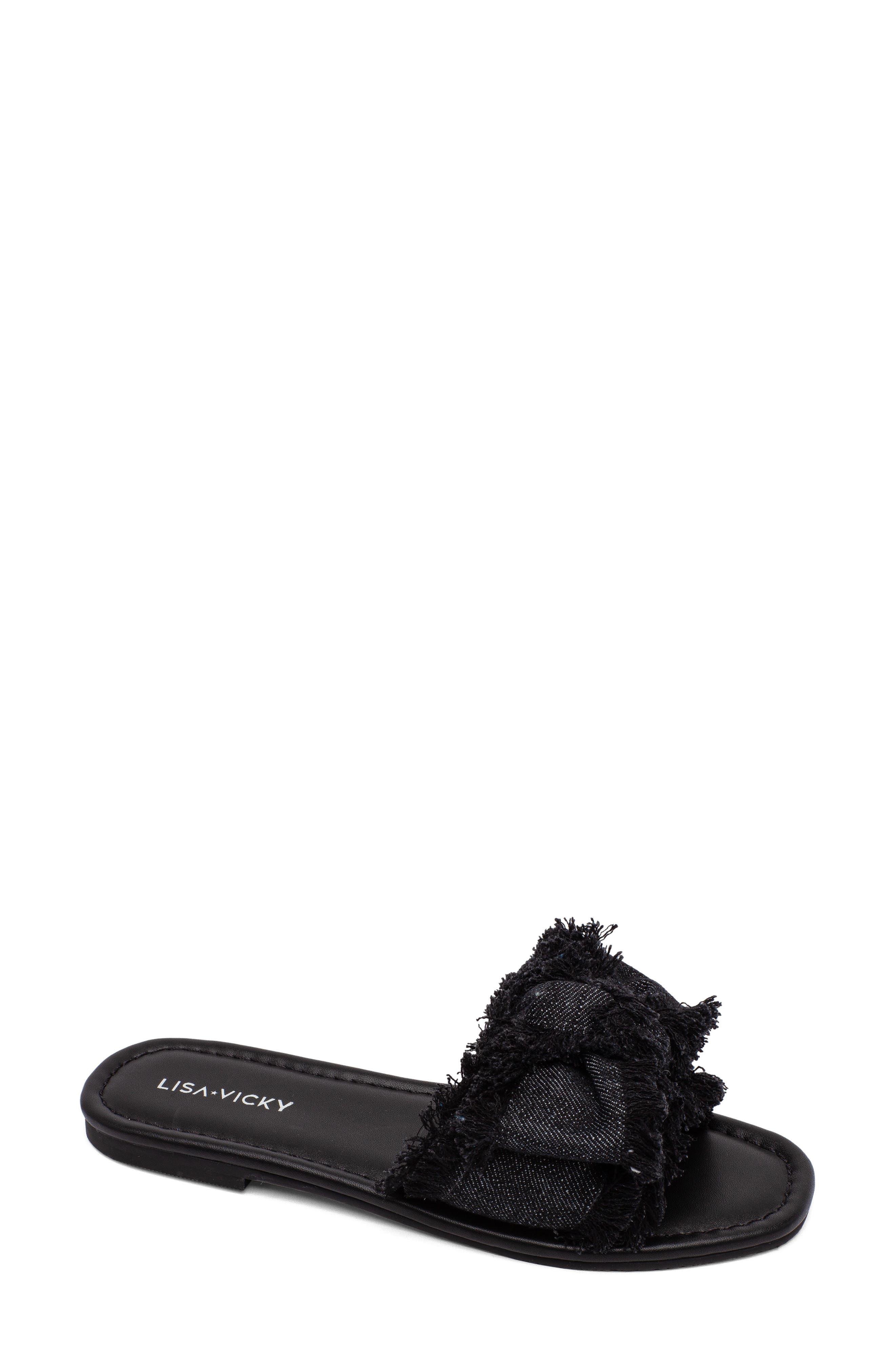 Merry Fringe Bow Slide Sandal