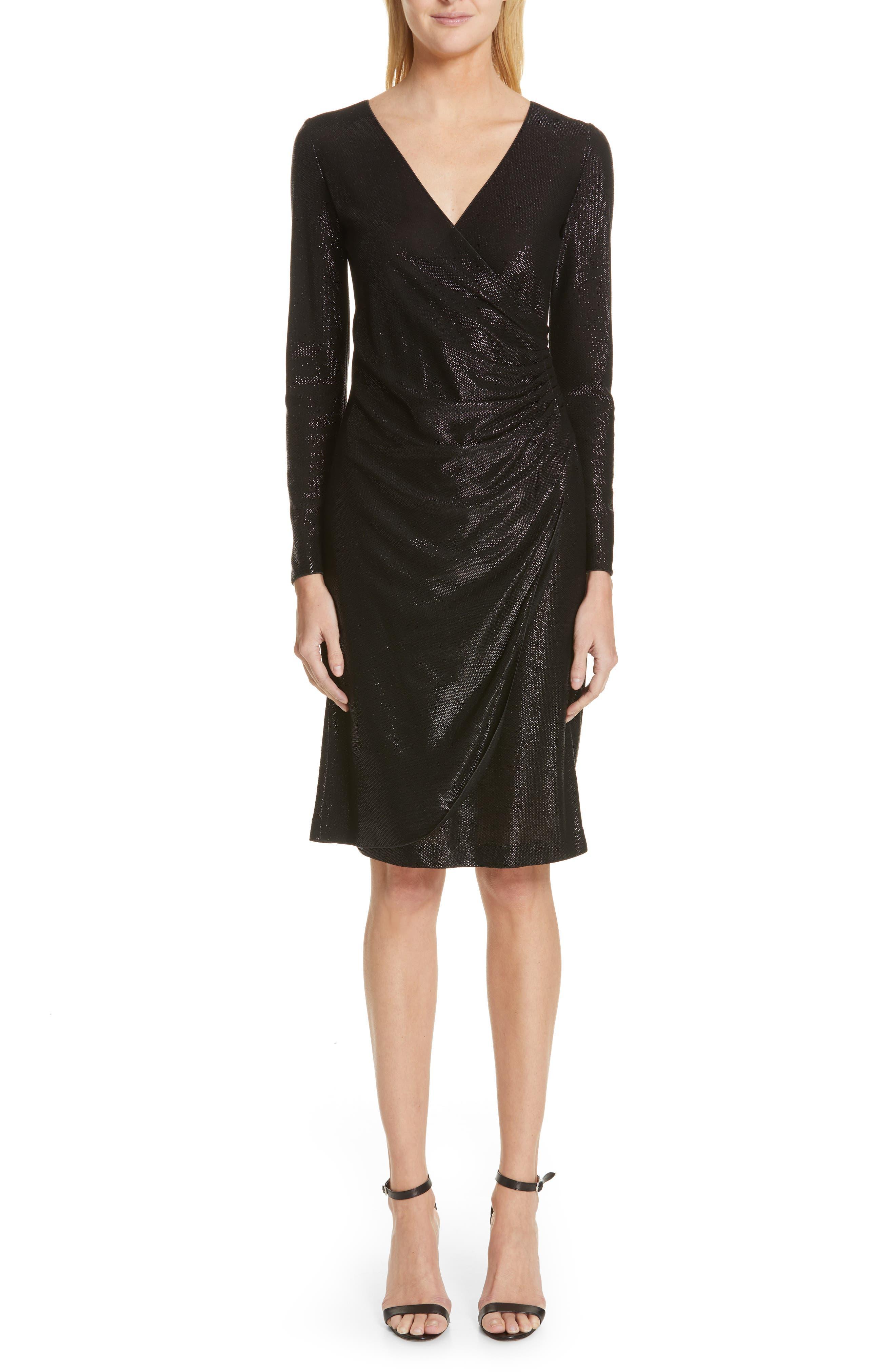 Emporio Armani Metallic Surplice Dress, 8 IT - Black