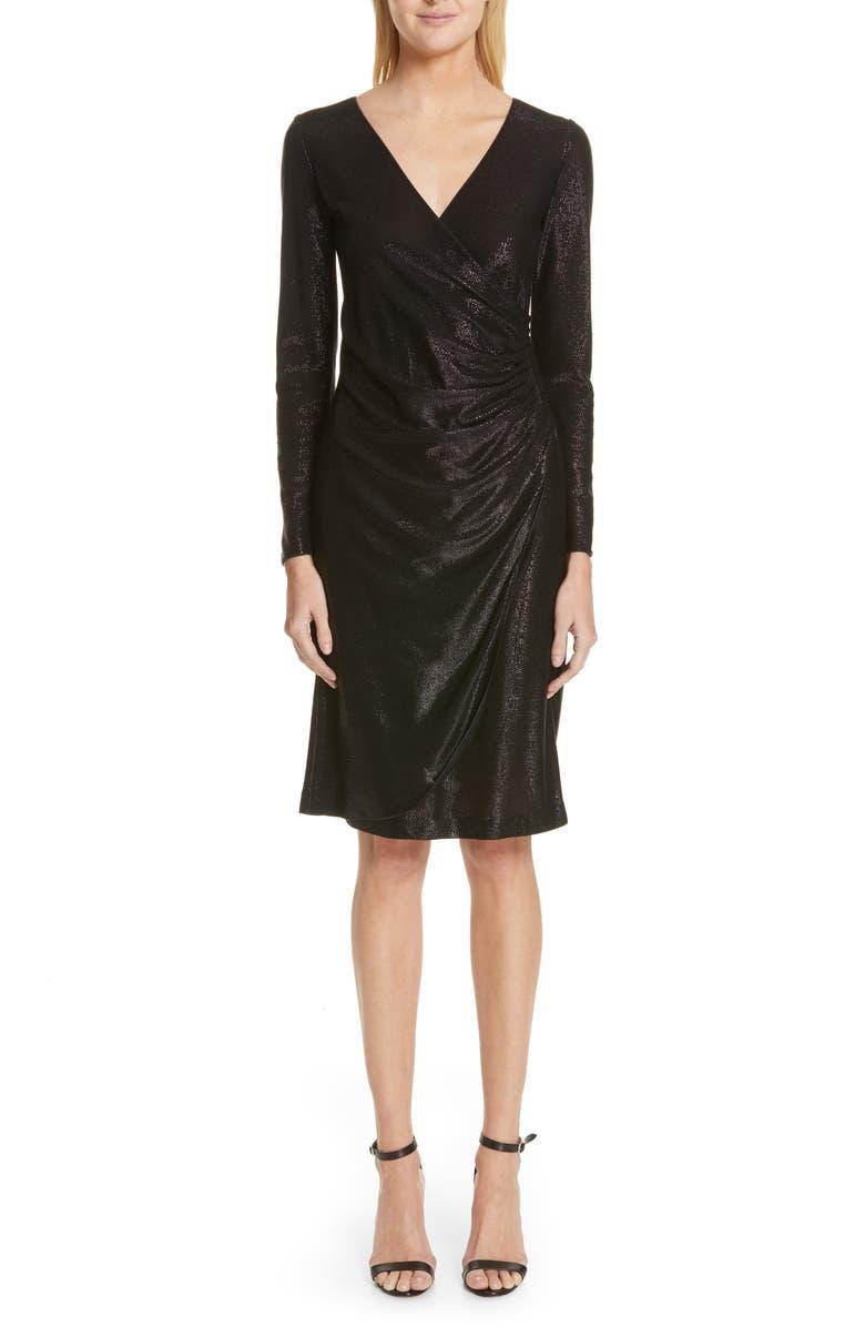 EMPORIO ARMANI Metallic Surplice Dress, Main, color, 001