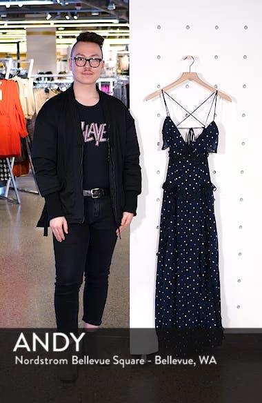 Lace Metallic Dot Maxi Dress, sales video thumbnail