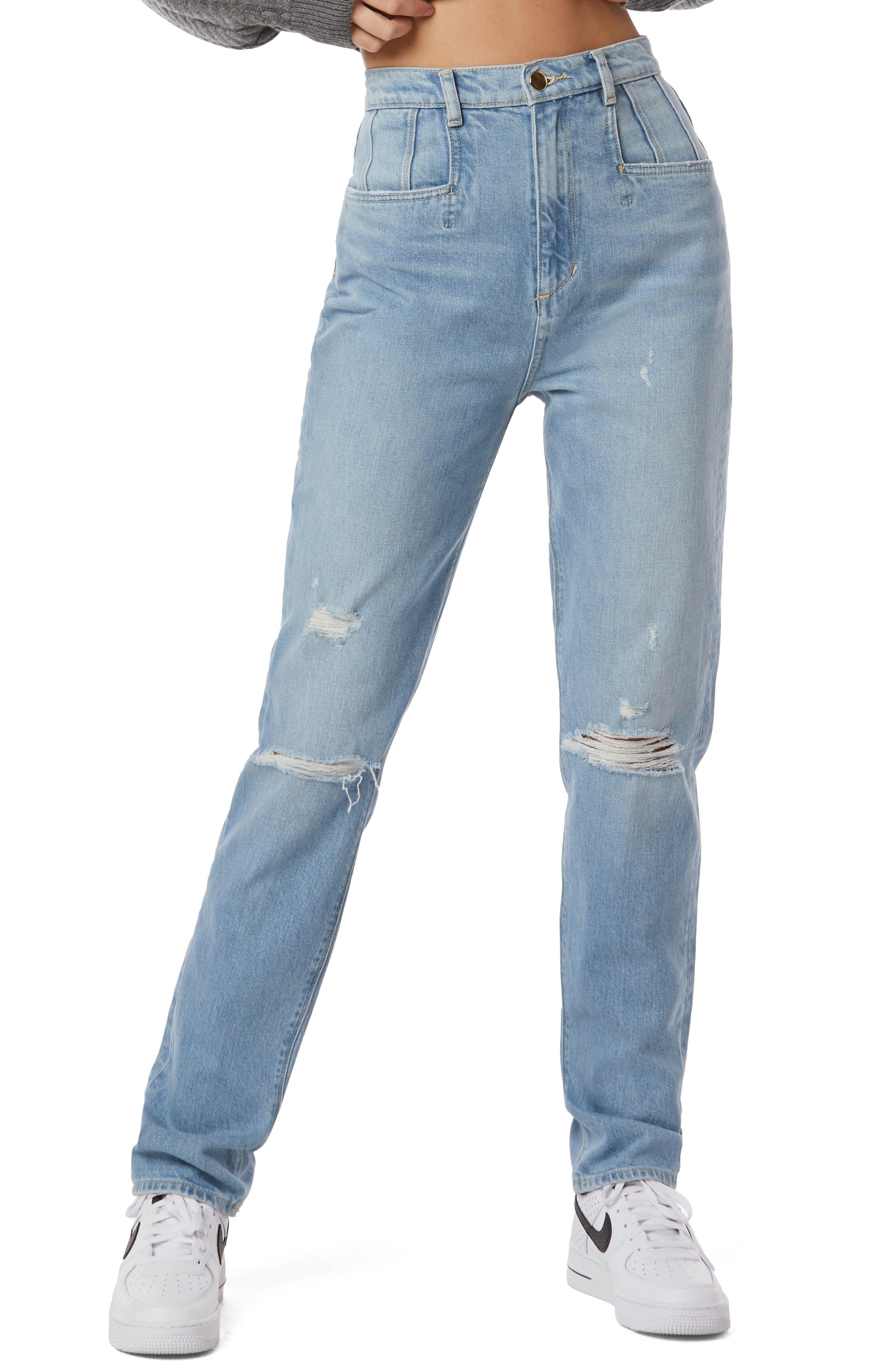 The Jordie Super High Waist Distressed Straight Leg Jeans