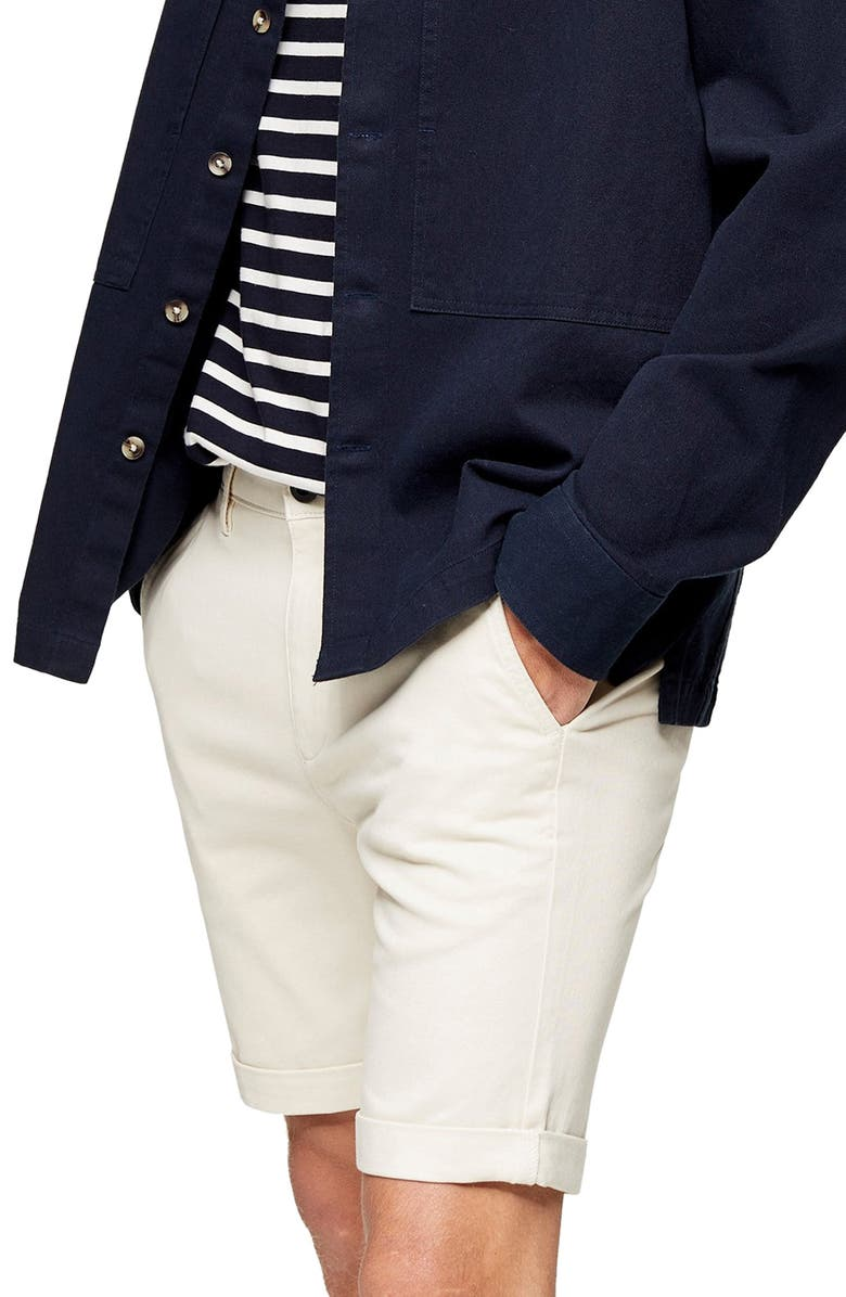 TOPMAN Stretch Skinny Chino Shorts, Main, color, 900