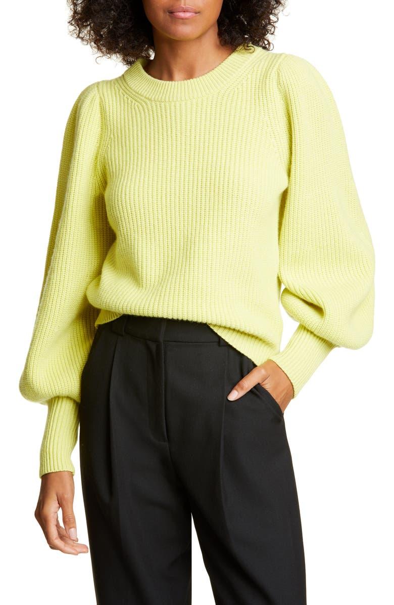 A.L.C. Eliana Balloon Sleeve Wool Blend Sweater, Main, color, CITRON