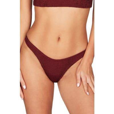 Bound By Bond-Eye The Scene High Leg Ribbed Bikini Bottoms, Size One Size - Red