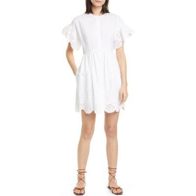 La Vie Rebecca Taylor Short Sleeve Cotton Eyelet Minidress, White