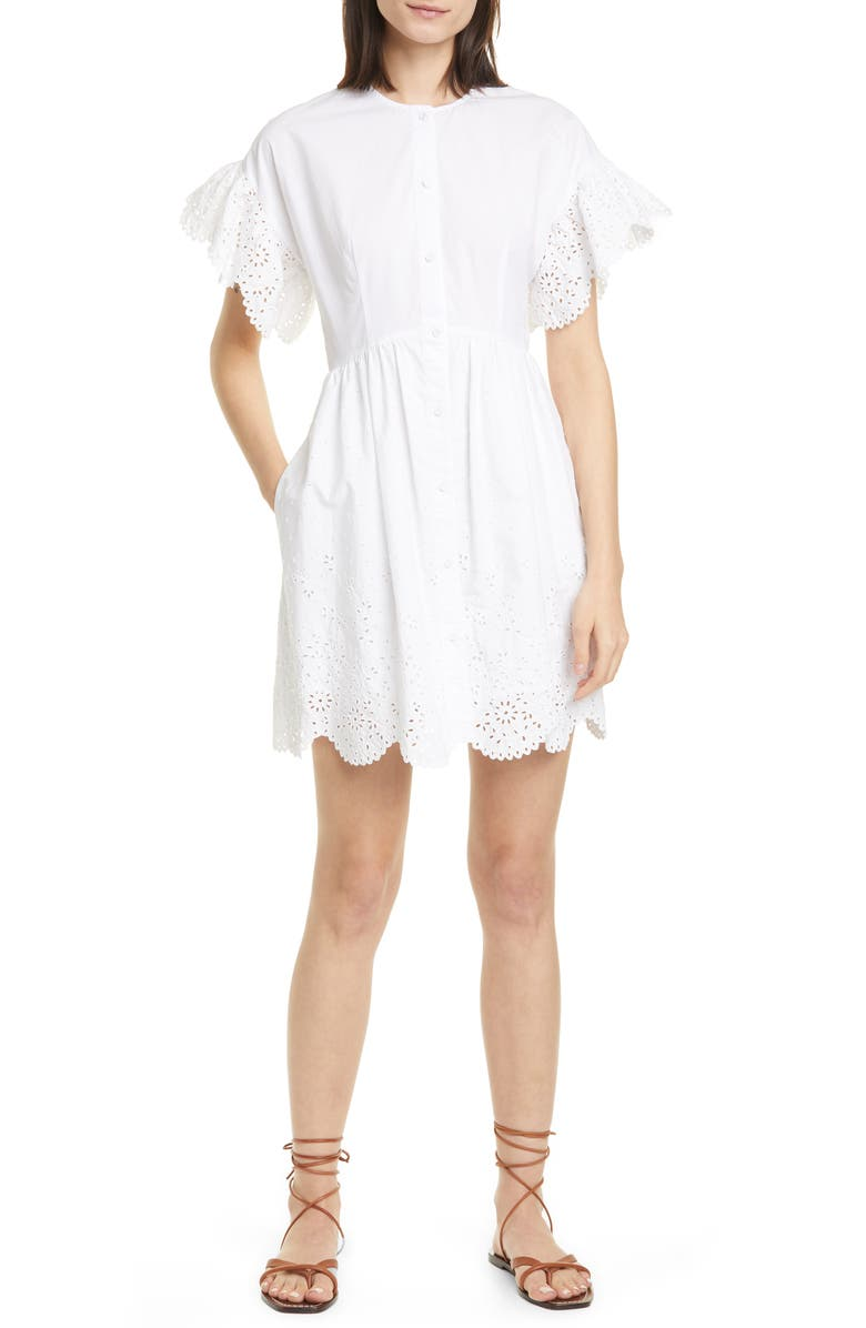 LA VIE REBECCA TAYLOR Short Sleeve Cotton Eyelet Minidress, Main, color, 106