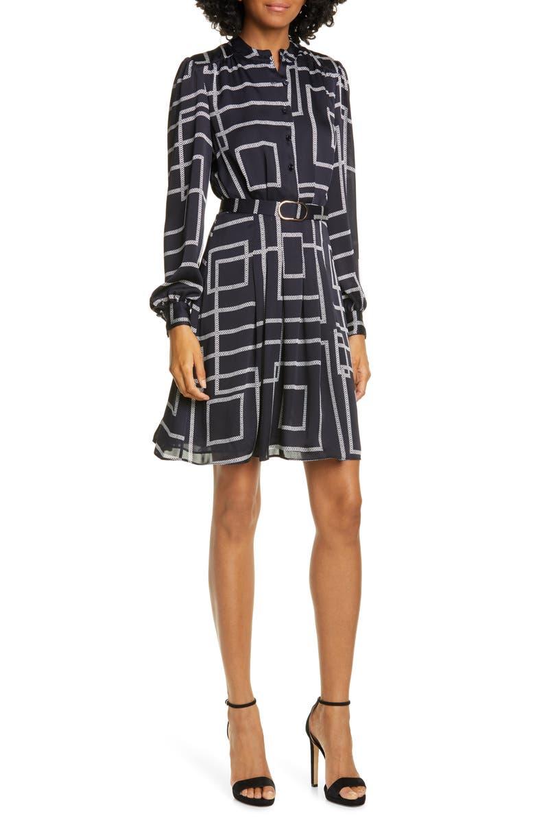 JOIE Tasma Geo Print Long Sleeve Dress, Main, color, MIDNIGHT
