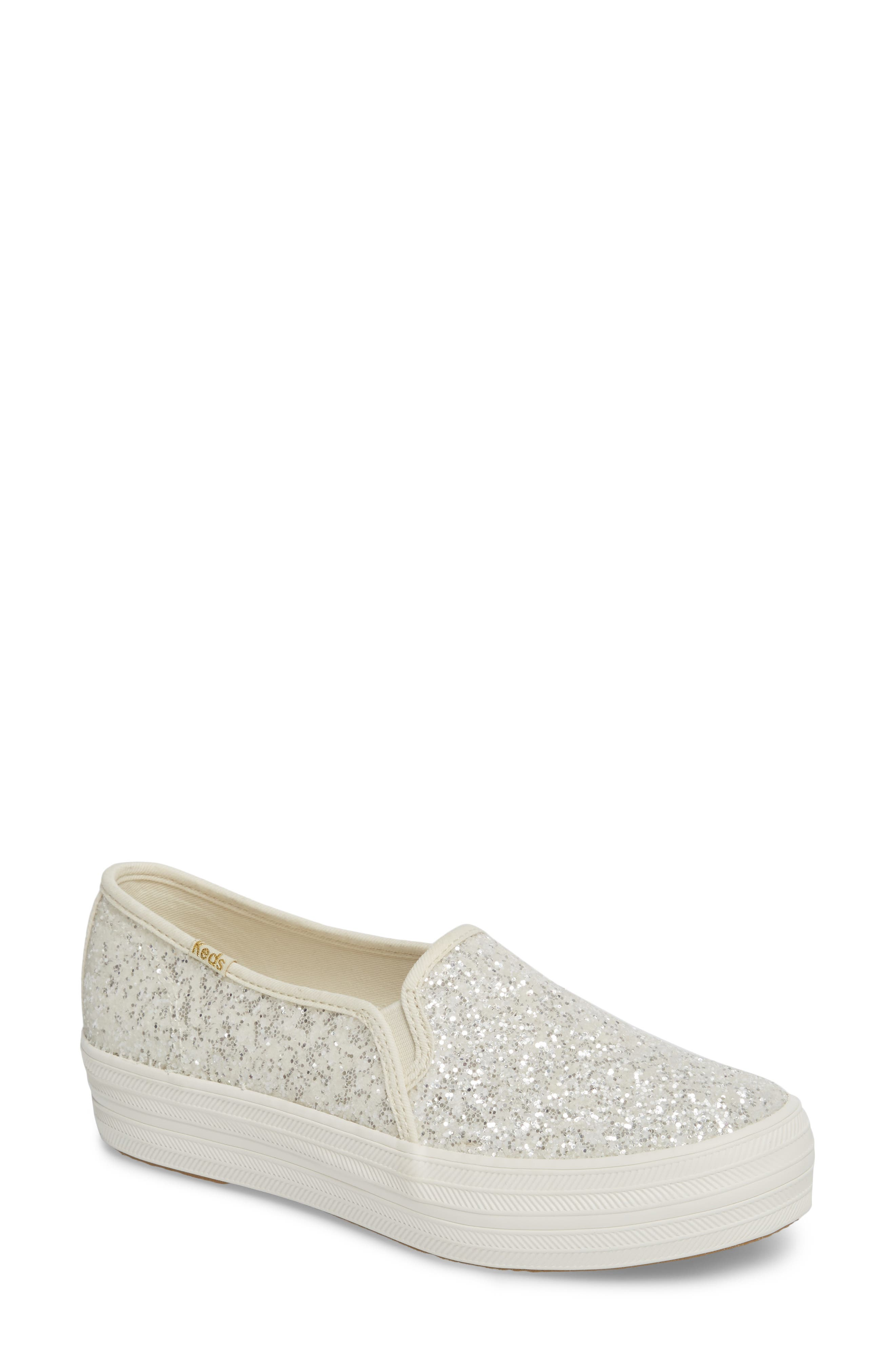 a1f7f6089f3e1 Keds For Kate Spade New York Triple Decker Glitter Slip-On Sneaker, Ivory