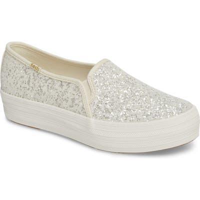 Keds For Kate Spade New York Triple Decker Glitter Slip-On Sneaker, Ivory