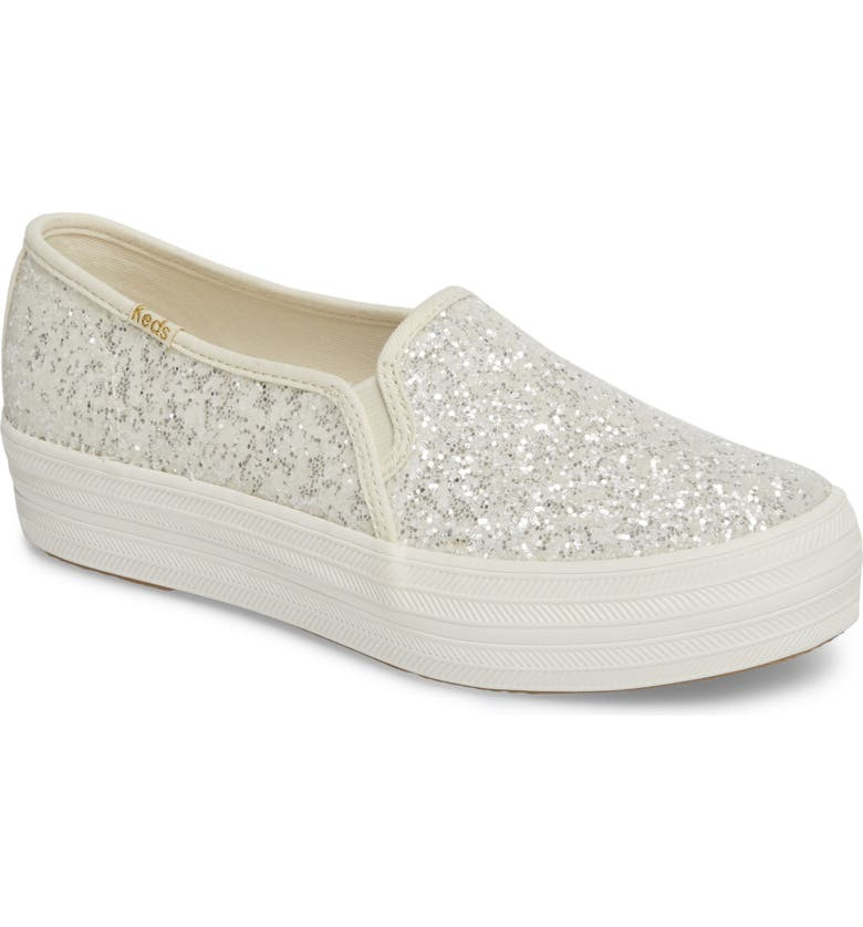 KEDS<SUP>®</SUP> FOR KATE SPADE NEW YORK Keds<sup>®</sup> x kate spade new york triple decker glitter slip-on sneaker, Main, color, CREAM